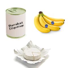 Etiquette autocollante agroalimentaire : fruits, légumes, fromage, conserve