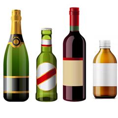 Etiquette autocollante / adhésive pour bouteille en verre : champagne, bière, vins et flacon